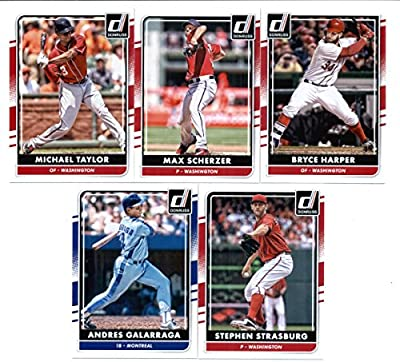 2016 Donruss Baseball Washington Nationals Team Set of 4 Cards: Bryce Harper(#57), Max Scherzer(#100), Stephen Strasburg(#154), Michael Taylor(#166) in Protective Snap Case