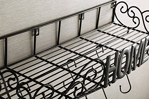 SparkWorks Pot Rack(Black)-THE UNIQUELY DESIGNED Wrought Iron Pot Rack includes 8 angled hooks;NO Assembly Required;Stylish 3D centerpiece Love By All.
