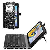 Fintie Folio Keyboard Case for Samsung Galaxy Tab A 8.0 2018 Model SM-T387 Verizon/Sprint/T-Mobile/AT&T, Premium PU Leather Stand Cover with Removable Wireless Bluetooth Keyboard, Composition Book (Color: Z-Composition Book Black)
