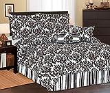7Pc Full Beverly Microfiber Bedding Comforter Set Black