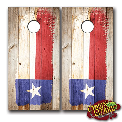 CL0019 Texas Flag Distressed Wood Brush CORNHOLE LAMINATED DECAL WRAP SET Decals Board Boards Vinyl Sticker Stickers Bean Bag Game Wraps Vinyl Graphic Image Corn Hole Lone Star Yellow Rose (Texas Corn Hole Bags compare prices)