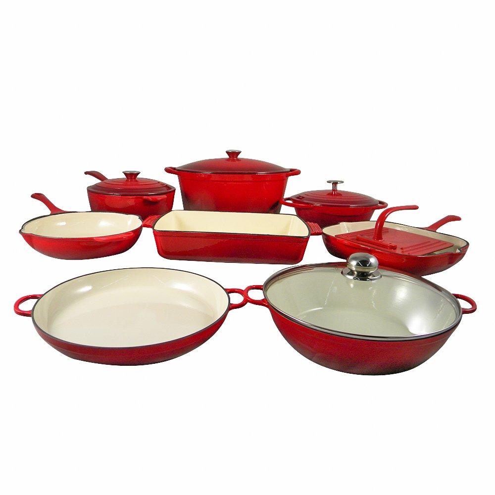 le chef 13 piece enamel cast iron red cookware set super sale ebay. Black Bedroom Furniture Sets. Home Design Ideas
