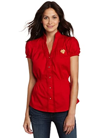 Southpole Juniors Ruffle Sleeve and Neck Button Down Short Sleeve Shirt, Red, XX-Large