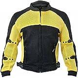Xelement CF-509 Mens Black/Yellow Sports Armored Mesh Jacket - Large