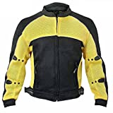 Xelement CF-509 Mens Black/Yellow Sports Armored Mesh Jacket - Small
