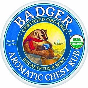 Badger Balm Aromatic Chest Rub - Eucalyptus & Mint - 2 oz