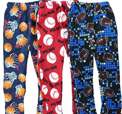 Boyz Club Pajama Bottoms for Boys - Pack of 3 - Sports Balls - Size 12/14 (Boys Sports)