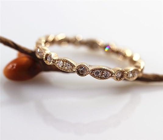 Vogugem FULL Eternity Band MILGRAIN Bezel .32ct Diamond Real 14CT Rose Gold Wedding Ring Anniversary Ring