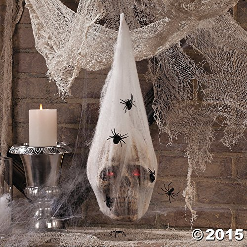 HALLOWEEN Haunted House Decoration Prop SKULL in SPIDER COCOON Light Up Eyes (Haunted House Prop Ideas)