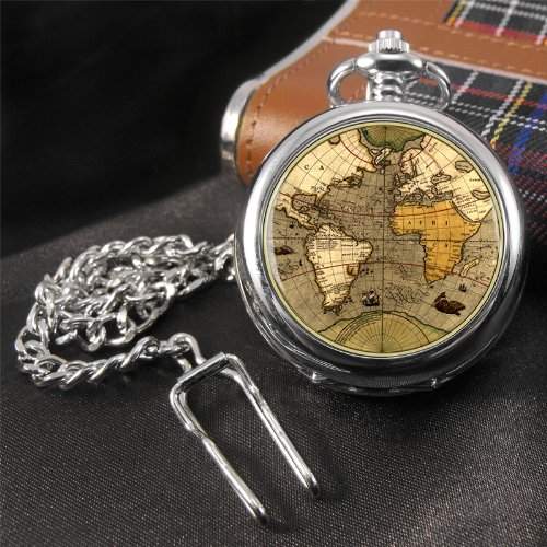 Antique World Map Pocket Watch