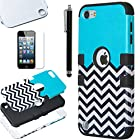 Pandamimi ULAK(TM) Hybrid Hard Pattern with Silicon Case Cover for Apple iPod Touch 5 Generation with Screen Protector and Stylus (Black / Black & White Wave Pattern)