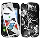 3 in 1 Bundle Samsung Galaxy Ace Style S765C Graphic Design Glossy Finish Rubberized Case - White Flower with Free Ultra-Sensitive Stylus Pen and Premium Screen Protector by BeautyCentral TM