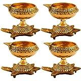 Hashcart Set Of 8 Handmade Indian Puja Brass Oil Lamp - Diya Lamp Engraved Design Dia With Turtle Base