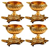 Hashcart Handmade Indian Puja Brass Oil Lamp - Diya Lamp Engraved Design Dia with Turtle Base (Set of 4)