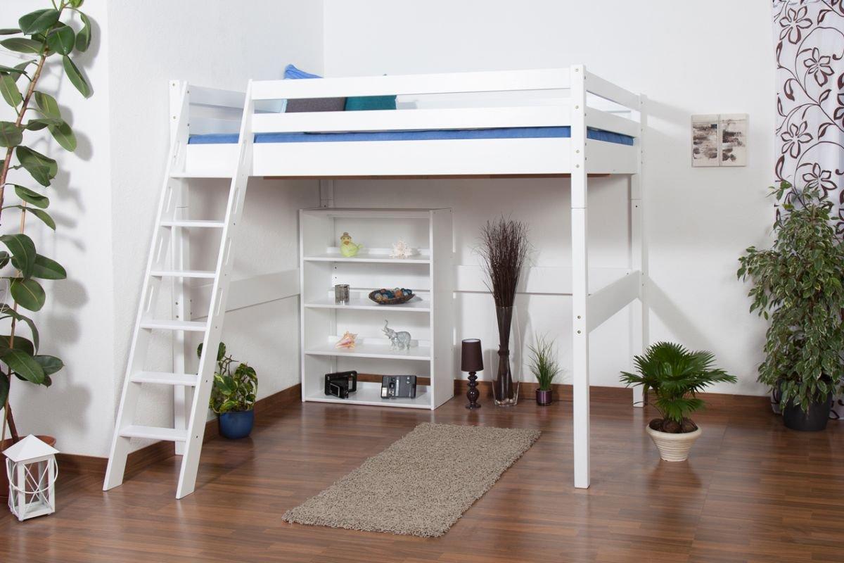Kinderbett Hochbett Christoph Buche Vollholz massiv weiß lackiert inkl. Rollrost – 140 x 200 cm online kaufen