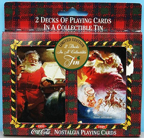 "Coca-Cola ""Santa Claus"" Nostalgia Playing Card Decks in Limited Edition Tin (1997) - 1"