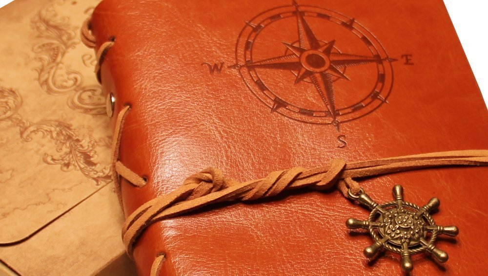 Classic Refillable Writing Journal (Naval Compass Embossing) - Vintage Leather (PU) Design- Includes Bamboo Pen 2