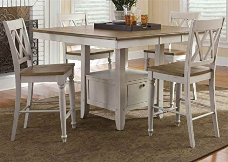 Wooden Gathering Table with 4 Counter Stools