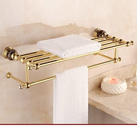 Accessori bagno stile europeo/antica cremagliera di tovagliolo/Verga d'oro giada marmo rame portasciugamani/Kit metallo-bagno-B