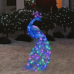 Outdoor sparkle led lighted peacock 47 tall for Amazon christmas lawn decorations
