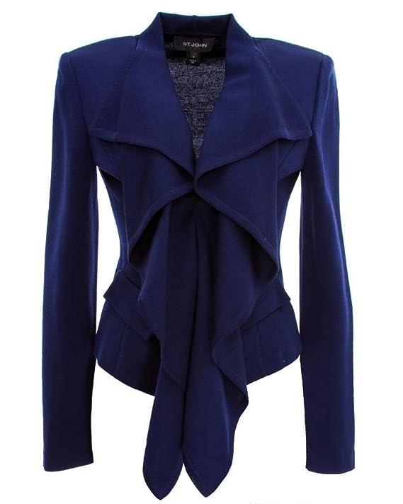 St John Ink Blue Wool Blend Draped Front Cropped Blazer