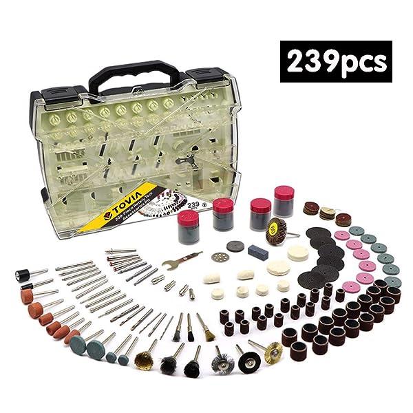 239 Piece Rotary Tool Accessories Kit 1/8 inch Diameter Shank Multi Purpose for DIY,Wood Working, Pumpkin Carving Drill Bit