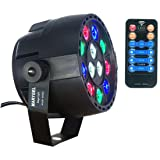 LED Stage Lights Marygel Led Par RGBW DMX Color Mixing 12 Leds Stage Lighting Can Remained One Color with Remote(1 Piece) (Color: Black 1)