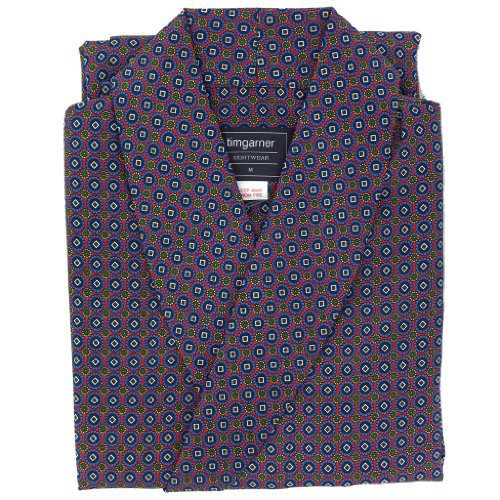 Men's Lightweight Gown - Men's Dressing Gown (DG23)- Neat Pattern With Blue Medallian Design by Best Dressing Gown Co.
