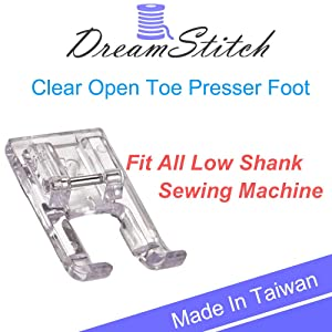 DREAMSTITCH 5mm Clear Open Toe Satin Stitch Presser Foot for All Low Shank Snap-On Singer, Brother, Babylock,Euro-Pro,Janome,Kenmore,White,Juki,New Home,Simplicity,Elna Sewing Machine
