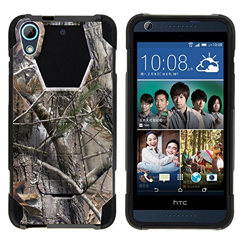 Desire 626 Case - Full Body Fusion SHOCK Impact Kickstand Case with Exclusive Illustrations for HTC Desire 626 - 626s by MINITURTLE - Tree Bark Hunter Camouflage