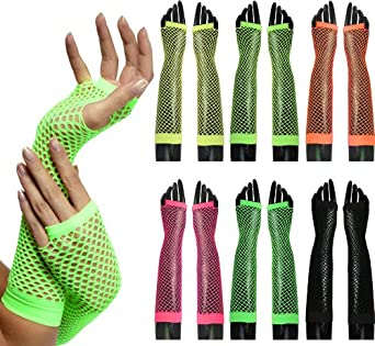 Oromiss Womens Ladies Fishnet Neon Fingerless Gloves Dance Funky 80s Fancy Dress