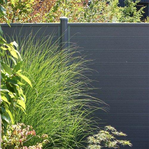wpc terrasso sichtschutzzaun bausatz lamellenzaun zaun in braun. Black Bedroom Furniture Sets. Home Design Ideas