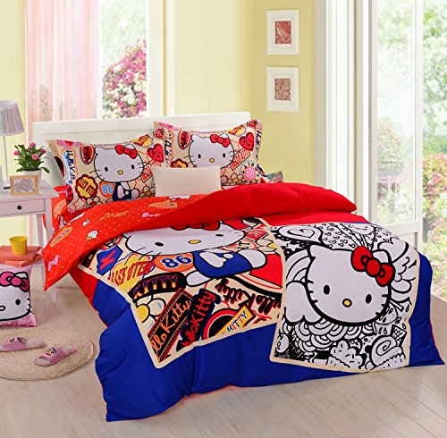 Lt Queen King Size 100% Cotton White And Black Blue Red Yellow Girls Princess Character Cartoon Kids Gift Bedding 4-Pieces Hello Kitty Prints Duvet Cover Set/Bed Linens/Bed Sheet Sets/Bedclothes/Bedding Sets/Bed Sets/Bed Covers/Bedroom Sets/5-Pieces Comfo front-939135