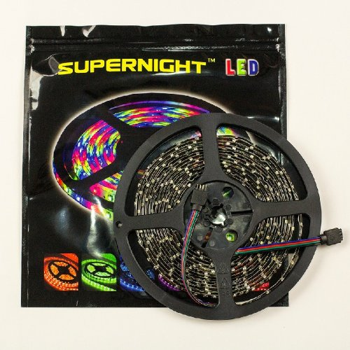 Supernight (Tm) 16.4Ft 5M Black Pcb Smd 3528 Rgb Flexible Led Strip, Waterproof, 60Leds/M, 300 Leds Led Light Ribbon, Colorful Changing Led Strip front-448459