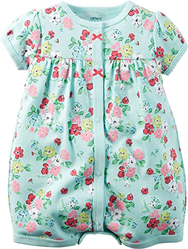 Carter's Baby Girls 1-piece Appliqué Snap-Up Cotton Romper (18 Months, Light Blue Floral)