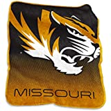 NCAA Missouri Tigers Unisex Raschel Throwraschel Throw, CHARCOAL, N/A