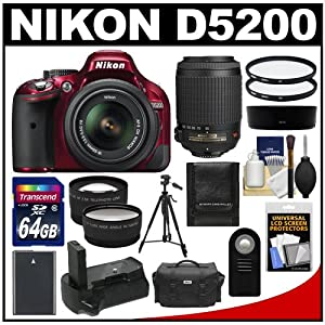 Nikon D5200 Digital SLR Camera & 18-55mm G VR DX AF-S Zoom Lens (Red) with 55-200mm VR Lens + 64GB Card + Case + Grip & Battery + Tripod + Tele/Wide Lenses + Filters Kit
