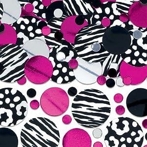 confeti cebra y rosa metálico
