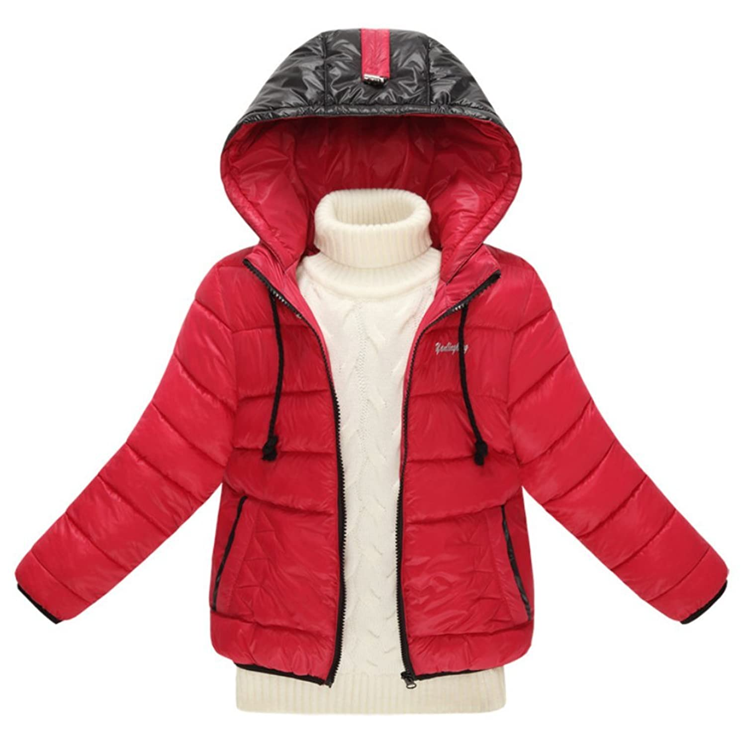 iikids Daunenjacke Kinder Mädchen Jungen Winterjacke mit Kapuze Kordelzug Rot Schwarz Blau Orange Wintermantel Mantel Jacket Trenchcoat Parka Outerwear Oberbekleidung Winter Kleidung günstig online kaufen