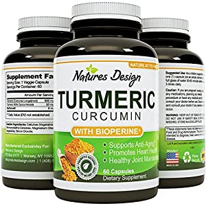 Turmeric Curcumin with Bioprene Black Pepper Extract With 95% Curcuminoids Vitamin B6 Manganese & Iron -Powerful Pain Relief Increased Energy & Bone Health Support For Women & Men By Natures Design