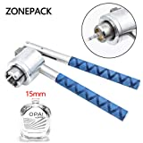 ZONEPACK Perfume Capping Machine 15mm Stainless Steel Lid Crimper Hand Sealing Machine Manual Gland Pliers Medical Crimper Handle Anti-Skid Bottle Aluminum Caps (15mm) (Color: Silver and Blue, Tamaño: 15mm)