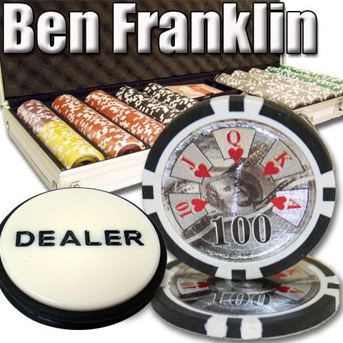 500 Casino Grade Ben Franklin 14 gram Poker Chips w/ Free 3″ Dealer Button. Premium Composite Clay Poker Chips, Includes Aluminum Case.