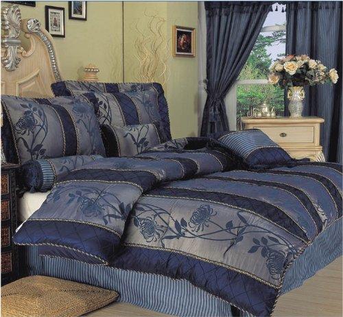 7Pcs King Darcy Patchwork Bedding Comforter Set Navy