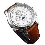 White Globe Dial Automaitc Self Wind Weel Chronometer Moon Phase Womens Mens Brown Silver Wrist Watch (Tamaño: Men's standard)