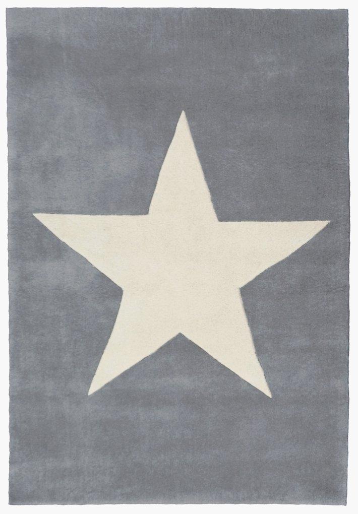 Wollteppich Happy Rugs BIG STAR silbergrau 160x230cm jetzt bestellen