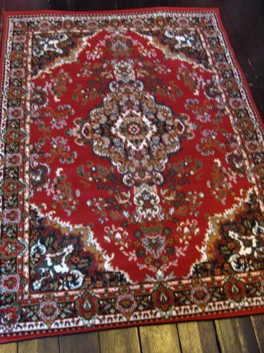 NEW EXTRA LARGE TRADITIONAL RED MEDALLION RUG 240 X 330CM