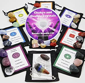 Ultimate 30 Stone Chakra Set with Crystal Healing Natural Mineral Tumbled Gemstones for All 7 Chakras. Includes 7 Stones Travel Set, Chakra Pendulum, Shiva Lingam, Clear Quartz Point, Satin Bags, Information Cards with Symbols and Bonus Cd. Uses: Metaphysical, New Age, Spiritual, Meditation, Wicca and Reiki.