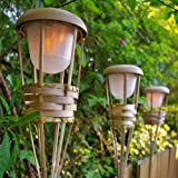 Tiki Torch Light, Bamboo, Flickering LED, Battery Operated