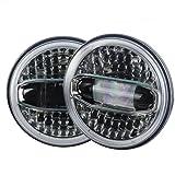 Eagle Lights Sunburst Jeep JK LED Headlight Kit with Halo Ring and Amber Integrated Turn Signals (Tamaño: Sunburst LED Headlight Kit)