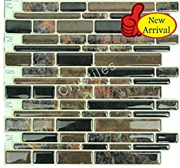 Crystiles® Peel and Stick Self-Adhesive Vinyl Wall Tiles, Multi-Color Marble Style, Item# 91010885, 10\